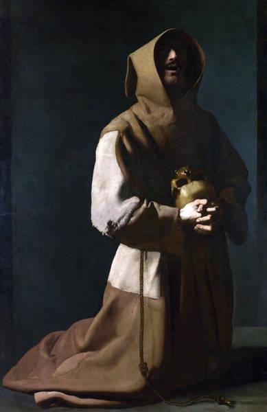 17th Century Wall Art - Painting - Saint Francis In Meditation by Francisco de Zurbaran