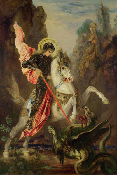 Daring Painting - Saint George And The Dragon by Gustave Moreau