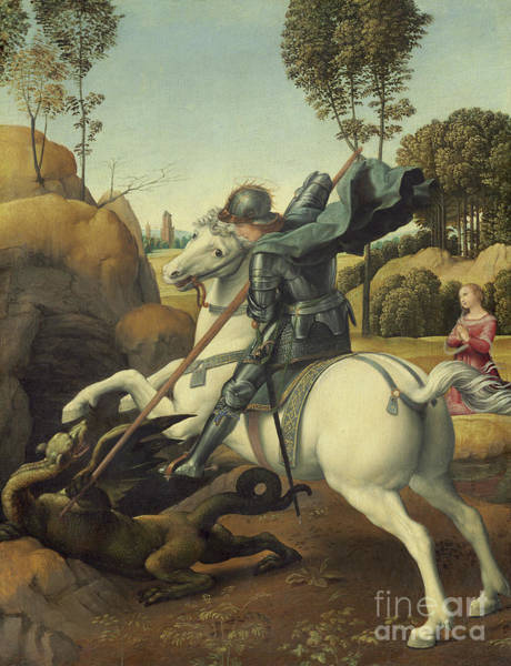 Wall Art - Painting - Saint George And The Dragon by Raphael