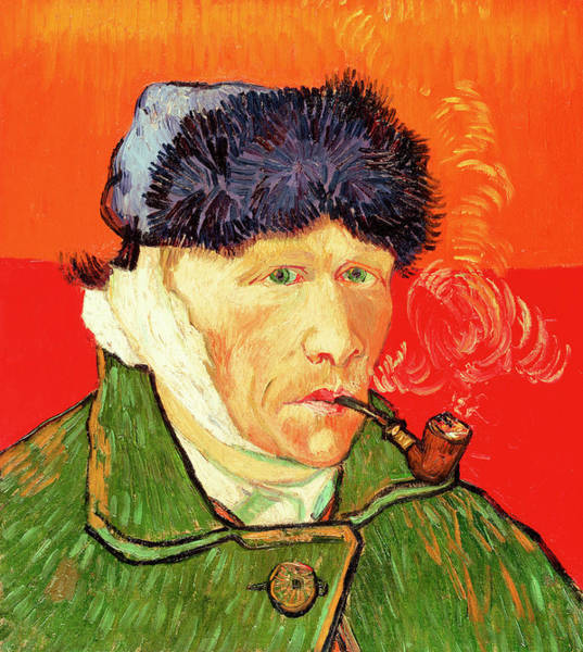 Bandage Wall Art - Painting - Self Portrait With Bandaged Ear And Pipe by Vincent van Gogh