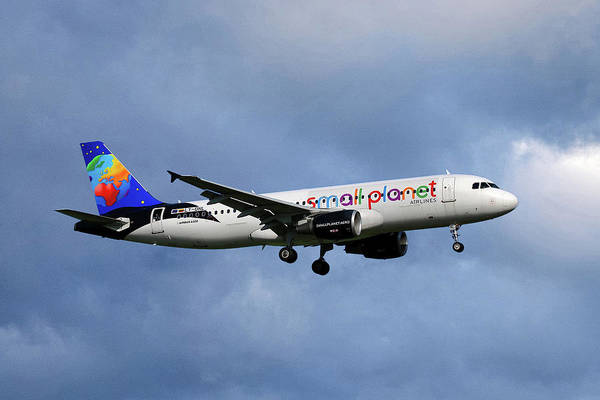 Small Wall Art - Photograph - Small Planet Airlines Airbus A320-214 by Smart Aviation
