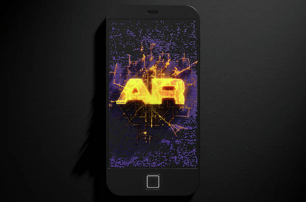 Wall Art - Digital Art - Smart Phone Emanating Augmented Reality by Allan Swart