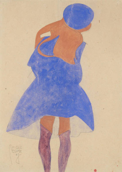Austrian Drawing - Standing Girl, Back View by Egon Schiele