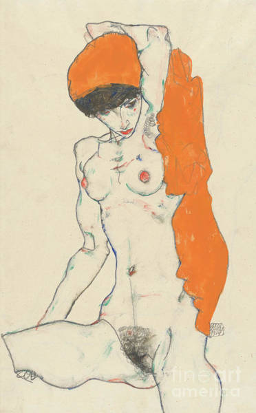 Wall Art - Painting - Standing Nude With Orange Drapery by Egon Schiele