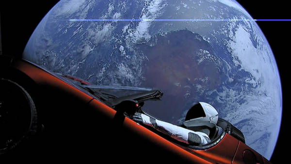 Starman Painting - Starman In Tesla Roadster With Planet Earth Traveling In The Space by Celestial Images