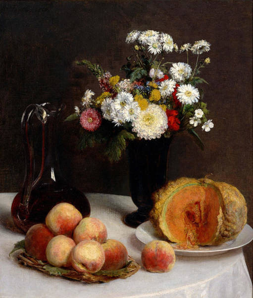 Wall Art - Painting - Still Life With A Carafe, Flowers And Fruit by Henri Fantin-Latou