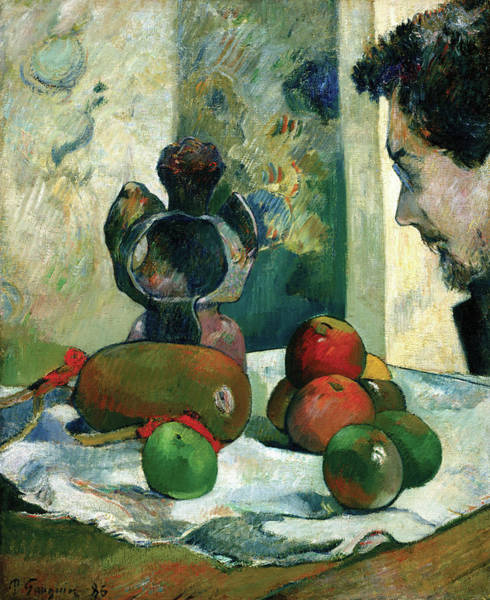 Painting - Still Life With Profile Of Laval by Paul Gauguin