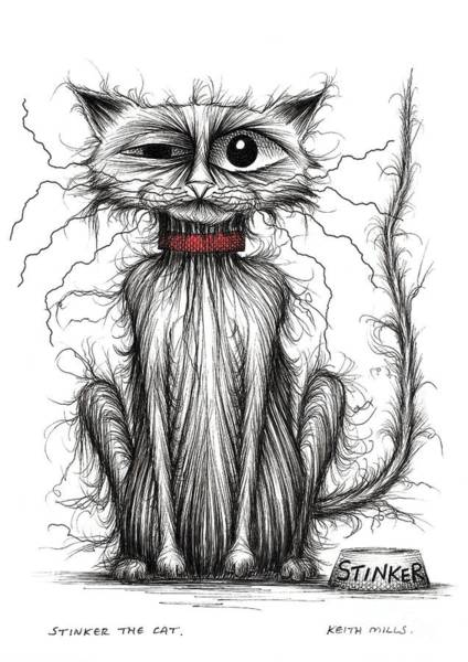 Miserable Drawing - Stinker The Cat by Keith Mills