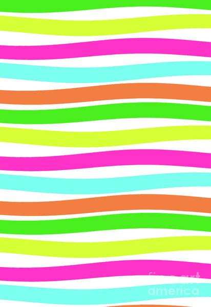 Neon Digital Art - Stripes by Louisa Knight