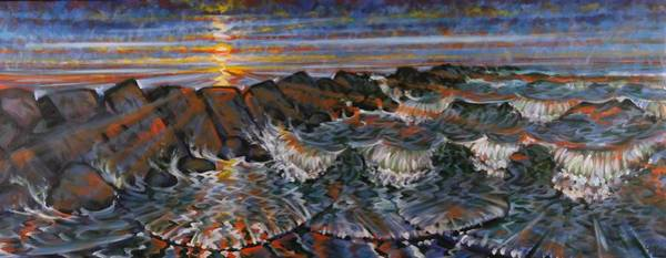 Painting - Sunset Surf 2 by Gary M Long