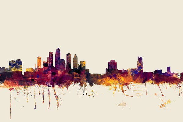 Miami Digital Art - Tampa Florida Skyline by Michael Tompsett