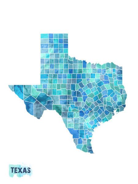 Dallas Digital Art - Texas Watercolor Map by Michael Tompsett
