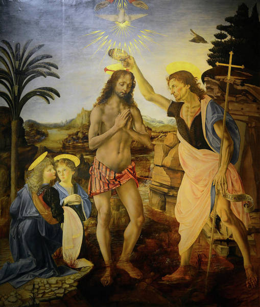 Painting - The Baptism Of Christ by Leonardo Da Vinci