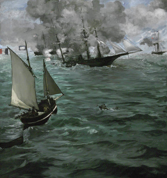 Uss Alabama Painting - The Battle Of The U.s.s. Kearsarge And The C.s.s. Alabama by Edouard Manet