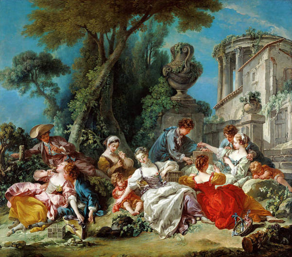 Francois Boucher Painting - The Bird Catchers by Francois Boucher