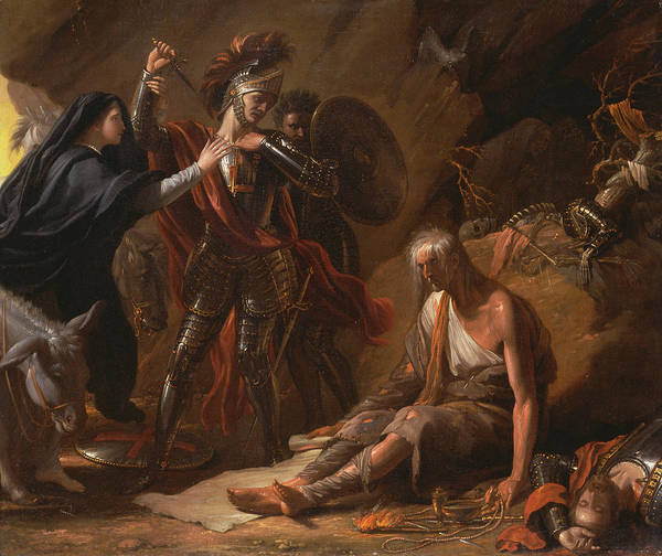 Wall Art - Painting - The Cave Of Despair by Benjamin West