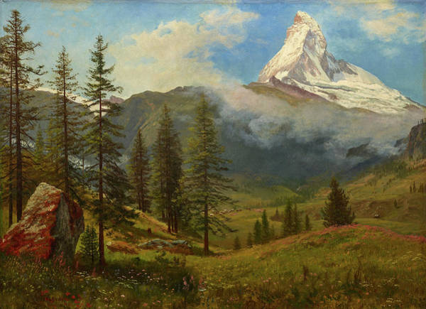 Mountain Lake Painting - The Matterhorn by Albert Bierstadt