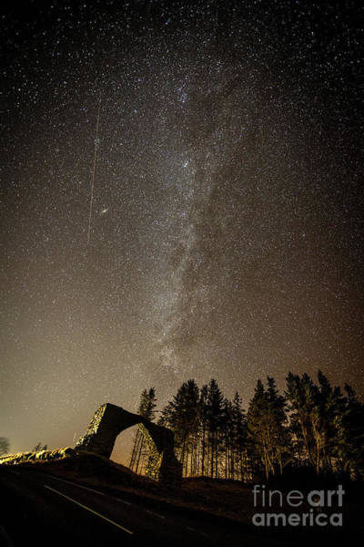 Photograph - The Milky Way Over The Hafod Arch, Ceredigion Wales Uk by Keith Morris