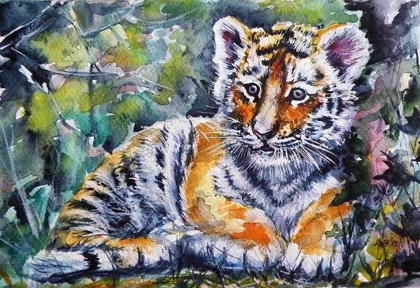 Wild Life Painting - Tiger Cub by Kovacs Anna Brigitta