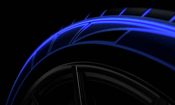 Mag Wheels Wall Art - Digital Art - Tire Luminous Tread And Dark Background by Allan Swart