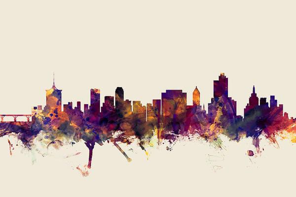 Tulsa Wall Art - Digital Art - Tulsa Oklahoma Skyline by Michael Tompsett