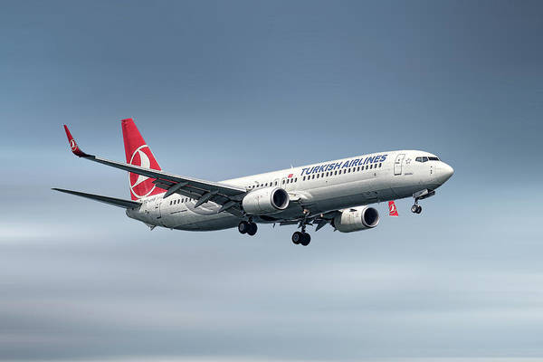 Turkish Wall Art - Mixed Media - Turkish Airlines Boeing 737-9f2 by Smart Aviation