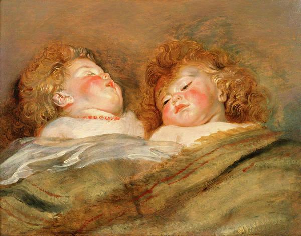 Matter Painting - Two Sleeping Children by Peter Paul Rubens