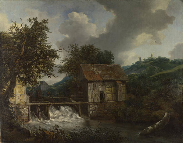 Wall Art - Painting - Two Watermills And An Open Sluice At Singraven by Jacob Van Ruisdael