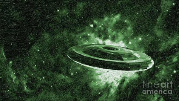 Paranormal Drawing - Ufo In Space by Raphael Terra