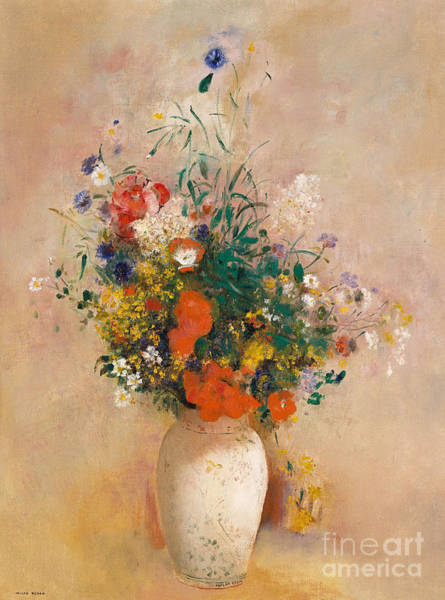 Wall Art - Painting - Vase Of Flowers, Pink Background by Odilon Redon