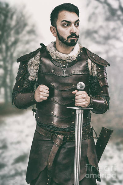 Cosplay Photograph - Viking Warrior With Sword by Amanda Elwell