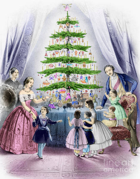 Wall Art - Painting - Vintage Christmas Card by English School