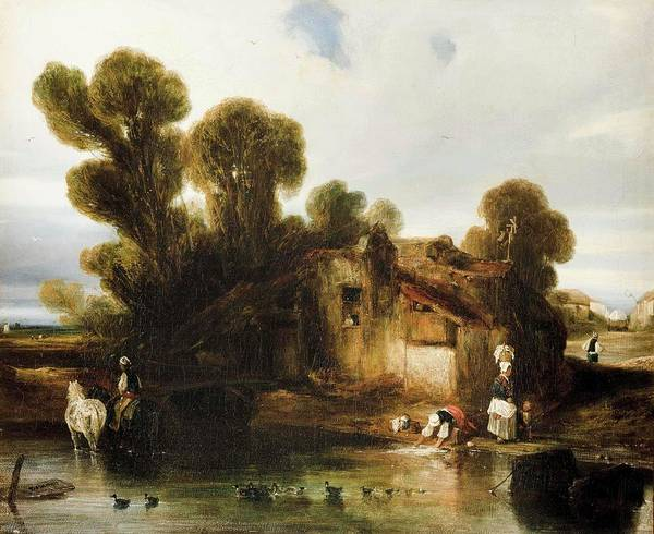 Gabriel Painting - Washerwomen On The Outskirts by Alexander Gabriel