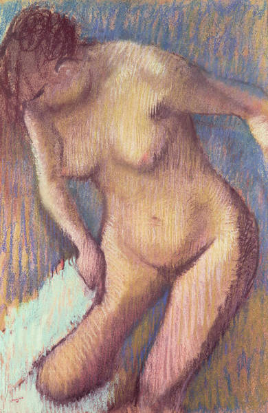 Bath Room Wall Art - Pastel - Woman Drying Herself by Edgar Degas