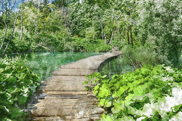 Photograph - Wooden Bridge Over A Pond In Plitvice National Park by Brandon Bourdages