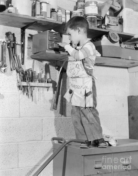 Toolshed Wall Art - Photograph - 4 Year Old Boy In Tool Shed, C.1950s by H. Armstrong Roberts/ClassicStock