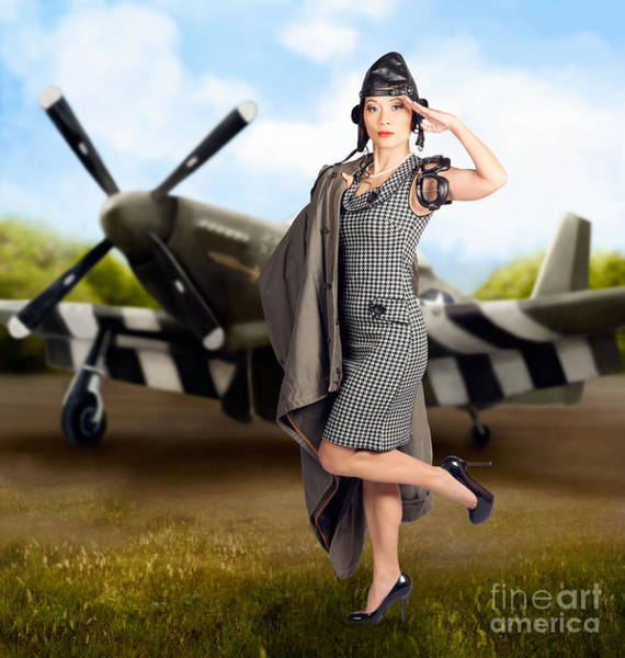Vintage Airplane Photograph - 40s Military Pin Up Girl. Air Force Style by Jorgo Photography - Wall Art Gallery
