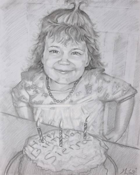 Drawing - Happy 3rd Birthday by Gary M Long