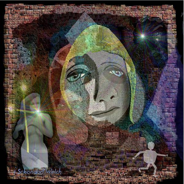 Illumination Painting -   421 Graffiti Wall With Sad Face V  by Irmgard Schoendorf Welch