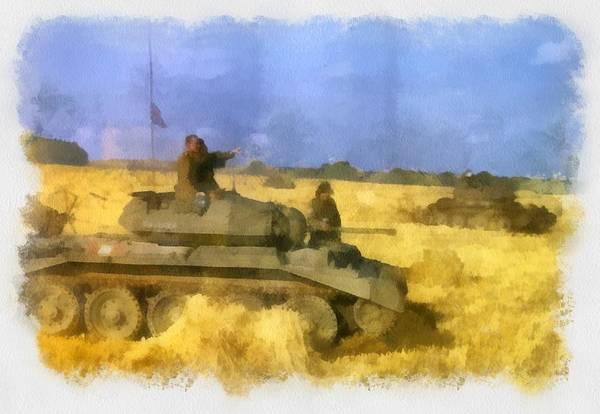 Tank Painting - 42nd Armoured Division Exercise Wwii by Esoterica Art Agency