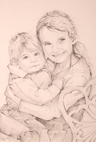 Drawing - Brother And Sister by Gary M Long