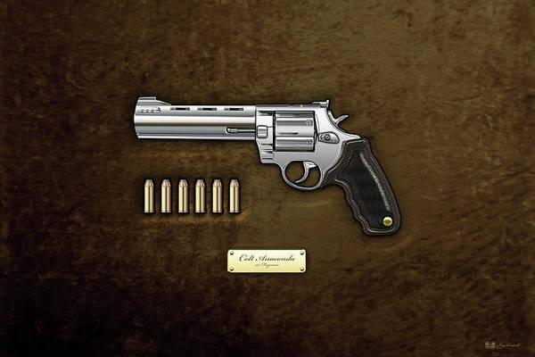 Digital Art - .44 Magnum Colt Anaconda With Ammo On Brown Velvet  by Serge Averbukh
