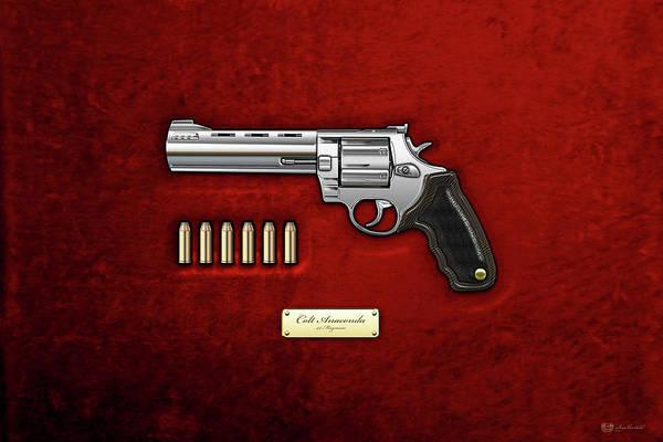 Velvet Revolver Wall Art - Digital Art - .44 Magnum Colt Anaconda With Ammo On Red Velvet  by Serge Averbukh