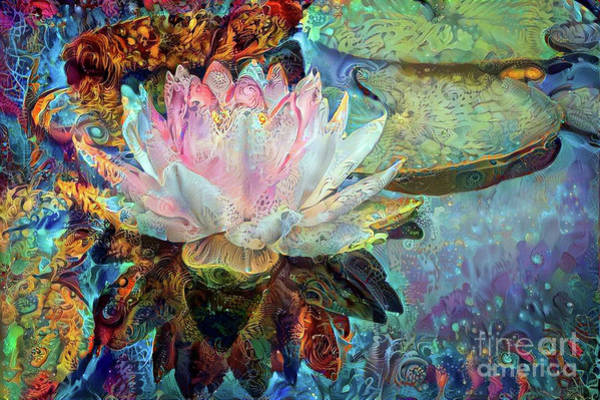 Lilly Pad Digital Art - Jeweled Water Lilies by Amy Cicconi