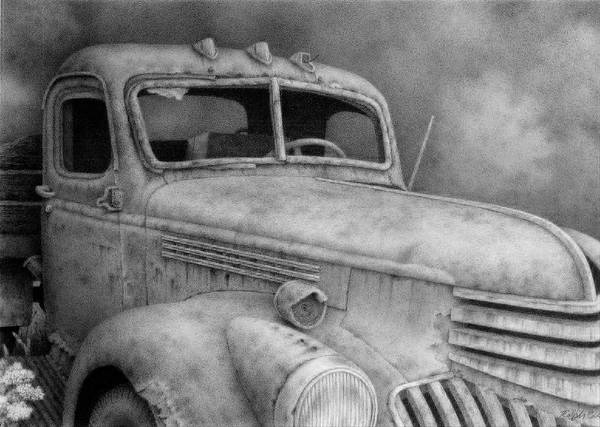 Old Truck Drawing - 47' Chevy Flatbed by Ralph Cale