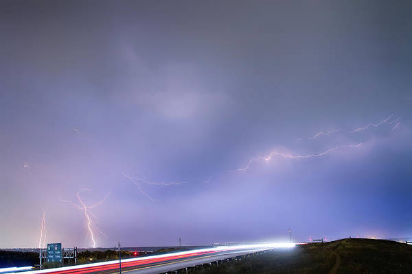 Photograph - 47 Street Lightning Storm Light Trails View by James BO Insogna