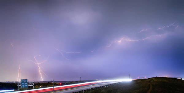 Photograph - 47 Street Lightning Storm Light Trails View Panorama 1 by James BO Insogna