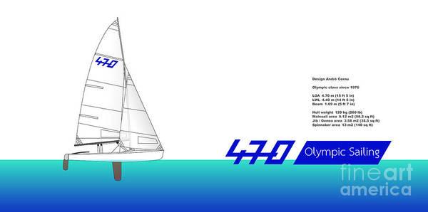 Speed Boat Digital Art - 470 Olympic Sailing by Jan Brons