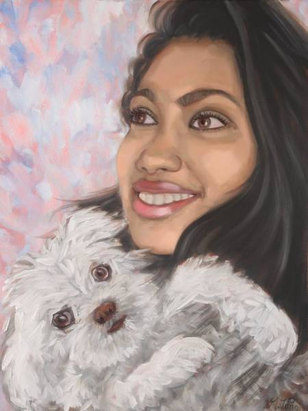 Painting - Women And Her Dog by Gary M Long