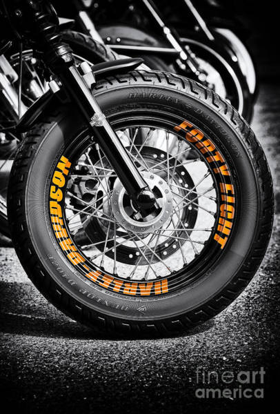 Harley Davidson Black And White Wall Art - Photograph - 48 Rims by Tim Gainey